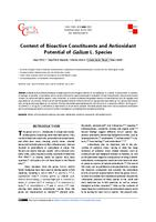 Content of bioactive constituents and antioxidant potential of Galium L. species